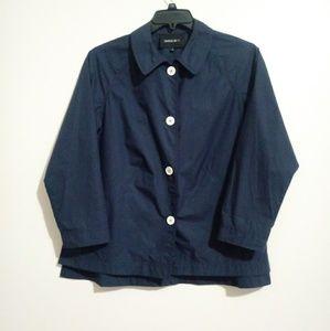 Lafayette 148 Blue Blouse w/ White Buttons S